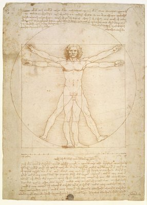 The Proportions of the human figure (after Vitruvius), c.1492 (pen & ink on paper) Fine Art Print by Leonardo da Vinci