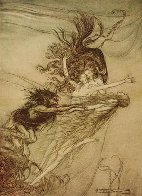 """The Rhinemaidens teasing Alberich"" from 'The Rhinegold and The Valkyrie' by Richard Wagner, 1910 Fine Art Print by Arthur Rackham"