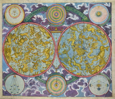 Celestial Map of the Planets (coloured engraving) Postcards, Greetings Cards, Art Prints, Canvas, Framed Pictures, T-shirts & Wall Art by Georg Christoph II Eimmart