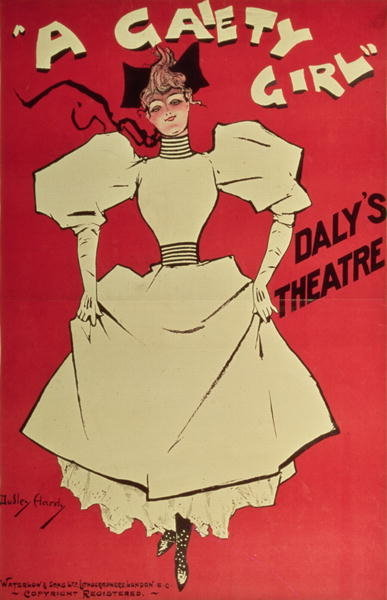 Poster advertising 'A Gaiety Girl' at the Daly's Theatre, Great Britain, 1890s (colour litho) Wall Art & Canvas Prints by Dudley Hardy