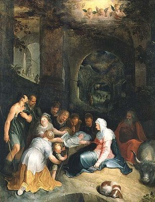 The Adoration of the Shepherds Fine Art Print by Karel Van Mander