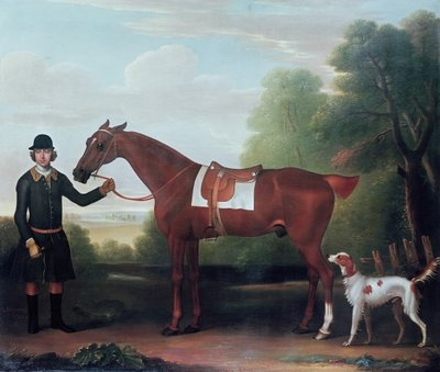 Lord Portman's 'Snap' held by groom with dog Fine Art Print by James Seymour