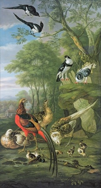 Cock pheasant, hen pheasant and chicks and other birds in a classical landscape Fine Art Print by Pieter Casteels