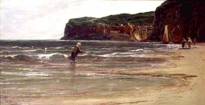 Coastal View with Woman Shrimping, c.1900 Fine Art Print by Edwin Ellis