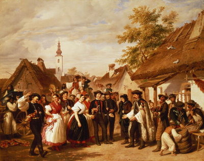 The Arrival of the Bride, 1856 Wall Art & Canvas Prints by Miklos Barabas