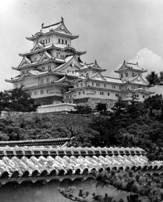 Himeji Castle, Kyoto, completed 1609 (b/w photo) Wall Art & Canvas Prints by .