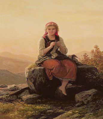Young Girl Knitting, 19th century Wall Art & Canvas Prints by Meyer von Bremen