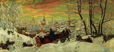 Arriving for Shrove-tide, 1916 (oil on canvas) Wall Art & Canvas Prints by Boris Mihajlovic Kustodiev