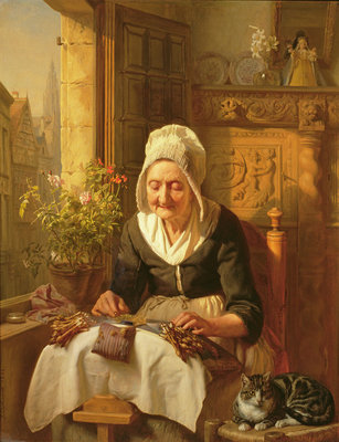 The Old Lacemaker, 1844 (panel) Postcards, Greetings Cards, Art Prints, Canvas, Framed Pictures, T-shirts & Wall Art by J.L. Dyckmans