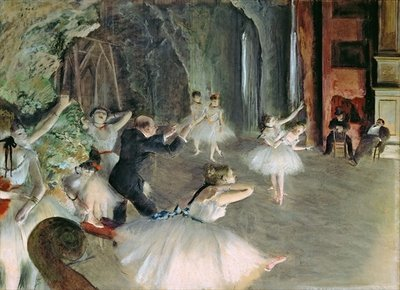 The Rehearsal of the Ballet on Stage, c.1878-79 (pastel on paper) Wall Art & Canvas Prints by Edgar Degas