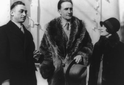 Leon Hartt, Marcel Duchamp, and Mrs. Hartt (b/w photo) Fine Art Print by Anonymous