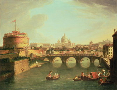 A View of Rome with the Bridge and Castel St. Angelo by the Tiber Fine Art Print by Gaspar van Wittel