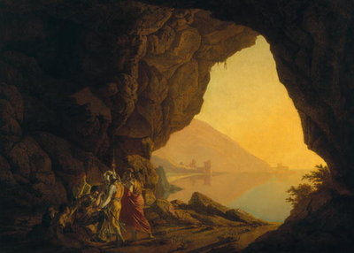 A Grotto in the Kingdom of Naples, with Banditti, exh. 1778 Fine Art Print by Joseph Wright of Derby