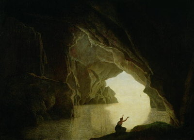 A Grotto in the Gulf of Salernum, with the figure of Julia, banished from Rome, exh. 1780 Fine Art Print by Joseph Wright of Derby