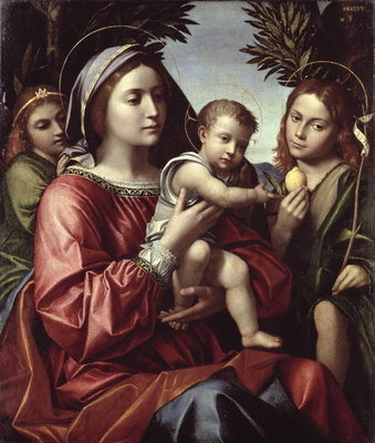 The Virgin and Child, St. John the Baptist and an Angel Fine Art Print by Paolo Morando