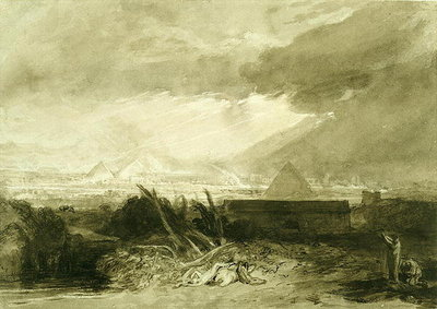 The Fifth Plague of Egypt, 1806-10 (pen and ink and wash) Wall Art & Canvas Prints by Joseph Mallord William Turner