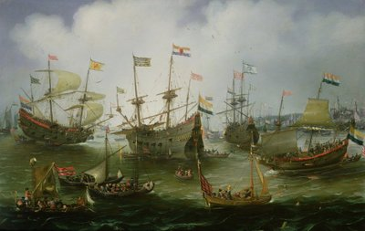 The Return to Amsterdam of the Second Expedition to the East Indies on 19th July 1599 (oil on copper) Wall Art & Canvas Prints by Andries van Eertvelt