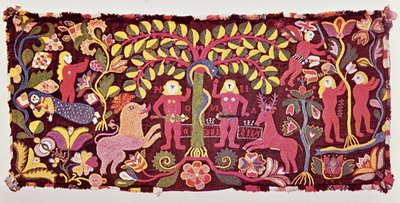 Carriage cushion cover depicting the Fall of Man, Creation of Eve and the Expulsion of Paradise, from Akarp, Skane, Sweden, c.1814 Fine Art Print by Swedish School