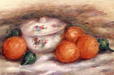 Still life with a covered dish and Oranges Fine Art Print by Pierre-Auguste Renoir