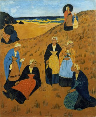 Young Breton Women wearing Shawls, or The Girls of Douarnenez, 1895 Wall Art & Canvas Prints by Paul Serusier