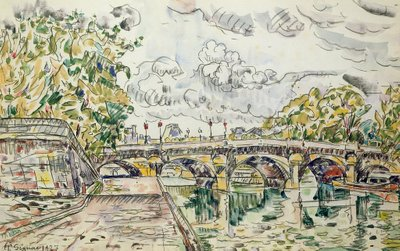 The Pont Neuf, Paris, 1927 (w/c) Postcards, Greetings Cards, Art Prints, Canvas, Framed Pictures, T-shirts & Wall Art by Paul Signac