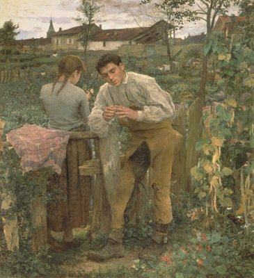 Rural Love, 1882 (oil on canvas) Postcards, Greetings Cards, Art Prints, Canvas, Framed Pictures, T-shirts & Wall Art by Jules Bastien-Lepage