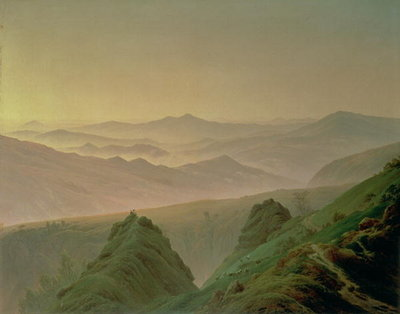 Morning in the Mountains (oil on canvas) Fine Art Print by Caspar David Friedrich