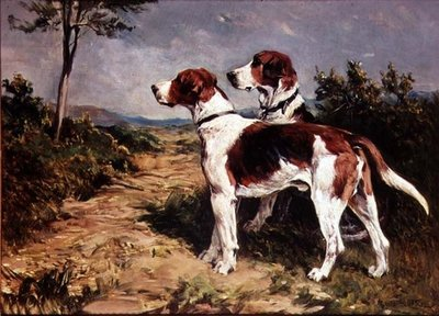 Two Hounds in a Landscape Postcards, Greetings Cards, Art Prints, Canvas, Framed Pictures, T-shirts & Wall Art by John Emms