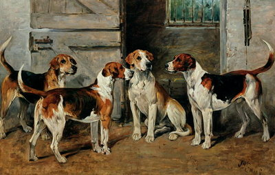 Study of Hounds Wall Art & Canvas Prints by John Emms