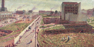 Workshops at Porta Romana, 1909 (oil on canvas) Fine Art Print by Umberto Boccioni