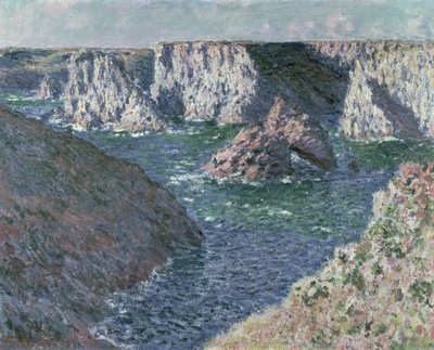 The Rocks of Belle Ile, 1886 (oil on canvas) Postcards, Greetings Cards, Art Prints, Canvas, Framed Pictures, T-shirts & Wall Art by Claude Monet