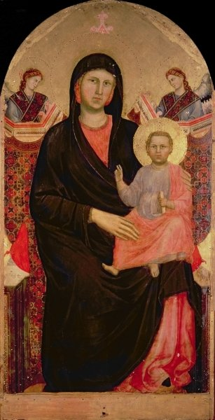 Madonna and Child Enthroned Fine Art Print by Giotto di Bondone