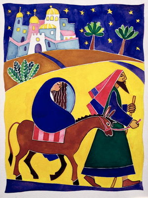 Journey to Bethlehem Poster Art Print by Cathy Baxter