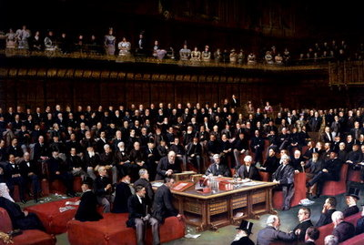 The Lord Chancellor About to Put the Question in the Debate about Home Rule in the House of Lords, 1893 Fine Art Print by English School