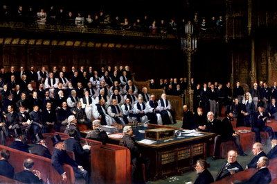 Marquis of Salisbury Speaking in the House of Lords during the Debate of Home Rule, 1893 Fine Art Print by English School