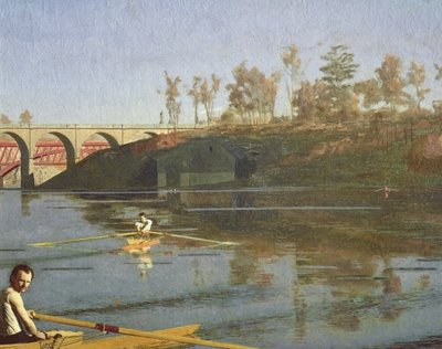 Max Schmitt in a Single Scull, 1871 Wall Art & Canvas Prints by Thomas Cowperthwait Eakins