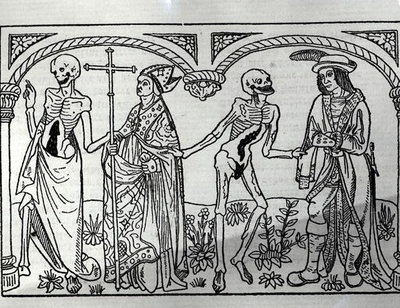 Death taking the Bishop and the Nobleman, from the Danse Macabre, published Paris, 1485 Poster Art Print by Guy Marchant