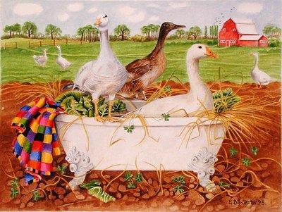 Geese in Bathtub, 1998 (acrylic on paper) Wall Art & Canvas Prints by E.B. Watts