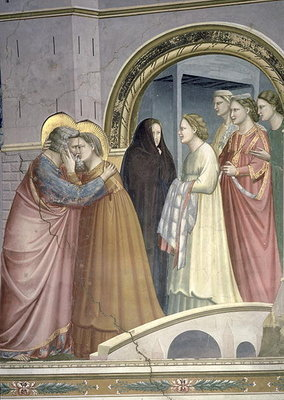 The Meeting at the Golden Gate, detail of Joachim and St. Anne embracing, c.1305 Fine Art Print by Giotto di Bondone