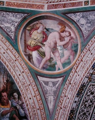 The Expulsion of Adam and Eve, from the pendentive of the dome, 1532-36 Fine Art Print by Bernardino Luini