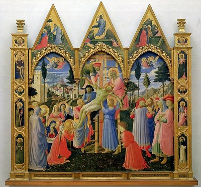 Santa Trinita Altarpiece, frame and pinnacles by Lorenzo Monaco Poster Art Print by Fra Angelico