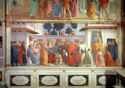 The Raising of the Son of Theophilus, the King of Antioch, and St. Peter Enthroned as First Bishop of Antioch, c.1427 and c.1480 Postcards, Greetings Cards, Art Prints, Canvas, Framed Pictures, T-shirts & Wall Art by T. Masaccio