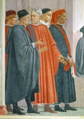 The Raising of the Son of Theophilus, King of Antioch, detail of Dignitaries at the King of Antioch's Court, c.1480 Postcards, Greetings Cards, Art Prints, Canvas, Framed Pictures, T-shirts & Wall Art by T. Masaccio