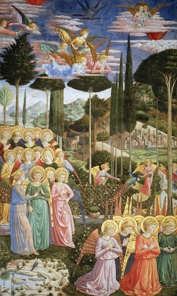 Angels in a heavenly landscape, the left hand wall of the apse, from the Journey of the Magi cycle in the chapel c .1460 Wall Art & Canvas Prints by Benozzo di Lese di Sandro Gozzoli