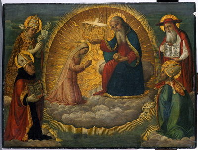 Mary before God the Father, watched by the four Church Fathers (tempera on poplar wood) Wall Art & Canvas Prints by Italian School