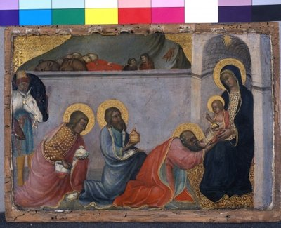 The Adoration of the Magi, c.1400 (tempera on wood) Wall Art & Canvas Prints by Paolo di Giovanni Fei
