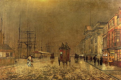 A Liverpool Street Wall Art & Canvas Prints by John Atkinson Grimshaw