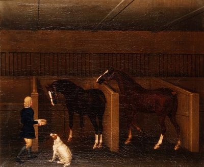 A groom, horses and a dog in a stable, 1747 Postcards, Greetings Cards, Art Prints, Canvas, Framed Pictures, T-shirts & Wall Art by James Seymour
