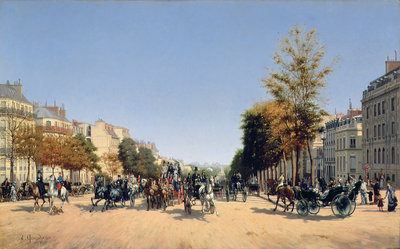 View of the Champs-Elysees from the Place de l'Etoile, 1878 Wall Art & Canvas Prints by Edmond Georges Grandjean
