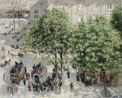 Place du Theatre Francais, Paris 1898 Postcards, Greetings Cards, Art Prints, Canvas, Framed Pictures, T-shirts & Wall Art by Camille Pissarro